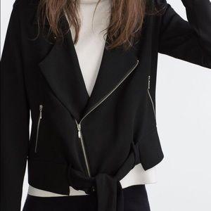 Zara Crepe Moto Blazer